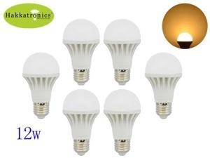 6 Pieces 12W E27 led bulb lamp light with 110V AC A60 Warm white 180 degree energy 100W Incandescent replacement