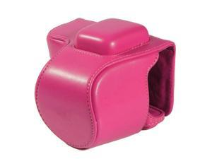Westlinke Compact Digital Camera Case for Sony NEX-5T NEX5T 5T PU Leather Camera Bag Cover Fit for 16-50mm Lens-Hot Pink
