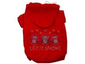 Let it Snow Penguins Rhinestone Dog Hoodie Red/Medium