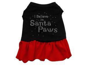 Santa Paws Rhinestone Dog Dress - Black with Red/Large