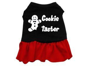 Cookie Taster Dog Dress - Black with Red/Large