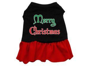 Merry Christmas Dog Dress - Black with Red/Extra Small