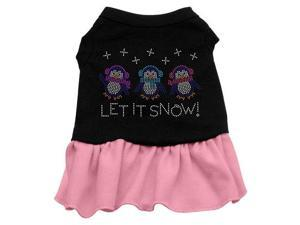 Let it Snow Penguins Rhinestone Dog Dress - Black with Pink/Medium