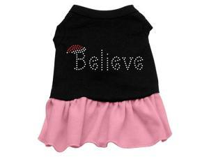 Believe Rhinestone Dog Dress - Black with Pink/Extra Large