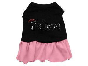 Believe Rhinestone Dog Dress - Black with Pink/Extra Large