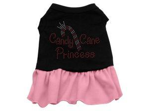 Candy Cane Princess Rhinestone Dog Dress - Black with Pink/Medium