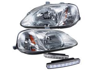 1999 Honda Civic Headlights Lamps + 8 Led Fog Bumper Light