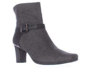 Aerosoles Harmonica Square Toe Ankle Strap Boots - Grey Wool, 7.5 M US