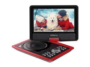 "COOAU 11.5"" Portable DVD Player with Swivel Screen, Support USB/SD Card, Direct Play in Formats MP4/AVI/RMVB/MP3/JPEG, Red"