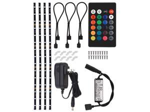 TORCHSTAR LED Multi-color RGB Home Theater TV Backlight Kit, 4pcs of LED Waterproof Strip Lights for Monitor, Screen, Background Accent lighting with UL adapter, RF Remote