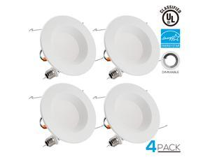 TORCHSTAR 5/6 Inch Dimmable Recessed LED Downlight, 13W (90W Equivalent), Energy Star, 5000K Daylight, 900lm, Retrofit LED Recessed Lighting Fixture, 5-YEAR Warranty, Pack of 4