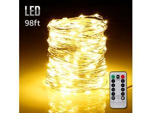 98ft 300LEDs Fairy String Lights Dimmable with Remote Control, Waterproof Copper Wire Firefly Lights for Christmas Bedroom Wedding Garden Patio Festival Party Decor, UL-listed USB Adapter, Warm White