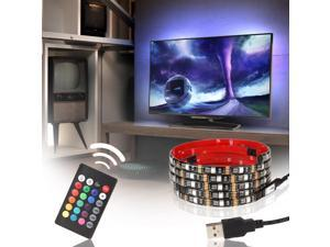 USB LED Multicolor RGB TV Backlight Kit, 4pcs of ETL listed 20 inch Waterproof Strip Lights, 16 colors+4 modes RF Remote for Monitor, Screen, Furniture, Cabinet Background Accent Lighting
