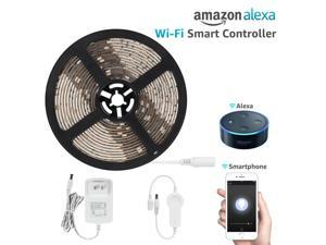 16.4ft Led Strip Light Compatible with Alexa, Wifi Wireless Smart Phone App, Flexible Warm White 36W Lighting Kit, IP65 Waterproof, UL Listed 12V Power Supply in Party & Kitchen