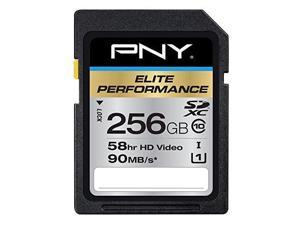 PNY  Elite Performance 256GB High Speed SDXC Class 10 UHS-I, U1 Up to 90MB/sec Flash Card - P-SDX256U1H-GE