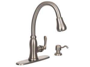 Pavilion Single-Handle Pull-Down Sprayer Kitchen Faucet with Soap Dispenser in Stainless Steel