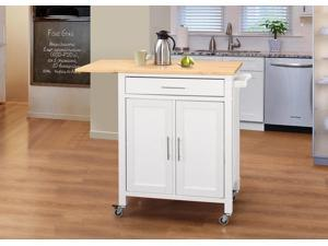 Vermont Kitchen Cart/Wht w/ Natural Top