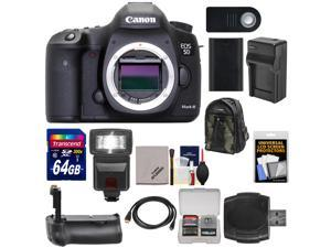 Canon EOS 5D Mark III Digital SLR Camera Body with 64GB Card + Flash + Grip + Battery & Charger + Backpack + Kit