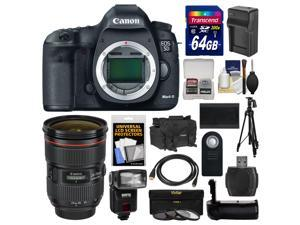 Canon EOS 5D Mark III Digital SLR Camera Body with 24-70mm f/2.8 L Lens + 64GB Card + Case + Flash + Battery/Charger + Grip + Tripod Kit