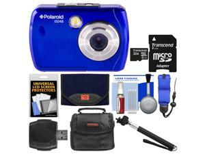 Polaroid iS048 Waterproof Digital Camera (Blue) with 32GB Card + Case + Selfie Stick + Float Strap + Cleaning Kit