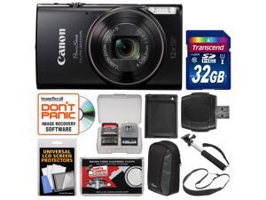 Canon PowerShot Elph 360 HS Wi-Fi Digital Camera (Black) with 32GB Card + Case + Battery + Selfie Stick + Sling Strap + Kit