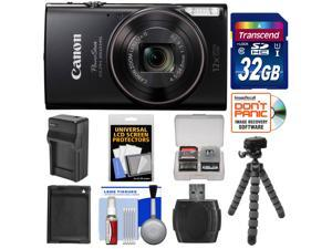Canon PowerShot Elph 360 HS Wi-Fi Digital Camera (Black) with 32GB Card + Battery & Charger + Flex Tripod + Kit