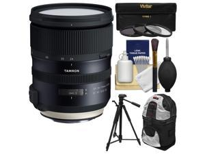 Tamron 24-70mm f/2.8 G2 Di VC USD SP Zoom Lens with 3 UV/CPL/ND8 Filters + Backpack + Tripod Kit for Canon EOS DSLR Cameras