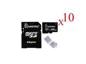 Smartbuy Micro SDXC Class 10 TF Flash Memory Card SD XC C10 Ultra U1 UHS-I HD For Camera Mobile Phone Tab GPS MP3 TV + Adapter + Mini Case (64GB- 10 Packs)