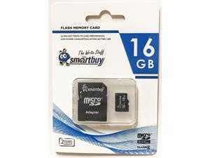Smartbuy Micro SDHC Class 4 TF Flash Memory Card SD HC C4 For Camera Mobile Phone Tab GPS MP3 TV + Adapter + Mini Case (16GB - 1 Pack)