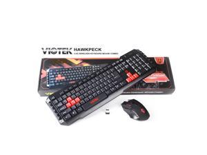 Viotek Hawkpeck Wireless 2.4GHz 7-Button 2000dpi Optical Mouse and Multimedia Keyboard with Highlighted WASD Keys