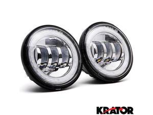 "Krator? Black 2x 4.5"" LED Spot Fog Passing Light Angel DRL for Most Harley Davidsons with 4.5"" Auxiliary Lights"
