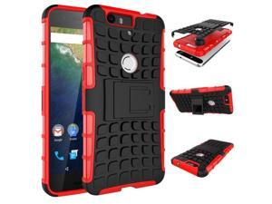 "for Huawei Nexus 6P Case, Hard PC+Soft TPU Shockproof Tough Dual Layer Cover Shell for 5.7"" Google Nexus 6P, Red"