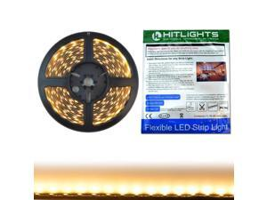 HitLights LED Light Strip - Warm White 3000K SMD 5050 - 150 LEDs, 16.4 Ft Roll - 12V DC - 123 Lumens / 2 Watts per Foot - Indoor IP-30 - Adhesive Backed for Easy Installation - LED Tape Light