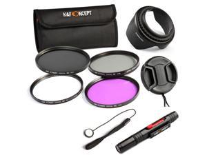 K&F Concept® 52mm UV CPL FLD ND4 Neutral Density Circular Polarizing Filter Kit Lens Hood Cap