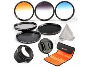 K&F Concept 62mm 6pcs Slim Lens Filter Kit(ND2+ND4+ND8+Graduated Color Blue, Orange, Gray) for + Microfiber Lens Cleaning Cloth + Flower Petal Lens Hood + Center Pinch Lens Cap + Filter Pouch