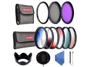 Beschoi 58mm UV CPL FLD Graduated Filter Lens Accessory 9pcs Filter Kit UV Protector Circular Polarizing Filter + Microfiber Lens Cleaning Cloth + Petal Lens Hood + Filter Bag Pouch