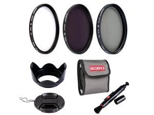 Beschoi 67mm High-precision Lens Filter Kit ( UV CPL ND4 ) Professional Filter with Center Pinch + Petal Lens Hood + Cleaning Pen +Filter Pouch Bag for SLR/DSLR Camera