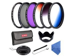 Beschoi 62mm Slim Lens Filter Kit Slim FLD Slim CPL Slim UV Slim Graduated Color Blue Orange Gray/Neutral Density ND4 Filters Set For DSRL Camera