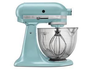 KitchenAid KSM155GBAZ Artisan Design Series 5-Quart Tilt-Head Stand Mixer with Glass Bowl Azure Blue