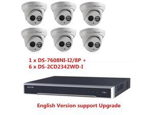 Hikvision 8CH 8POE DS-7608NI-I2/8P 4K NVR + 6 x DS-2CD2342WD-I 4MP WDR IP Dome Camera 2.8mm Lens English Version can Upgrade