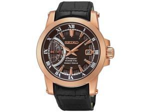 Seiko Men's 42mm Chronograph Black Calfskin Hardlex Kinetic Date Watch SRG016P1