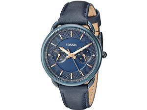 FOSSIL WOMEN'S BLUE LEATHER BAND STEEL CASE QUARTZ ANALOG WATCH ES4092