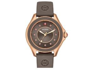 MICHELE WOMEN'S 40MM BROWN SILICONE BAND STEEL CASE QUARTZ WATCH MWW27A000005