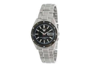 SEIKO MEN'S 5 STEEL BRACELET & CASE AUTOMATIC BLACK DIAL ANALOG WATCH SNKF51K1