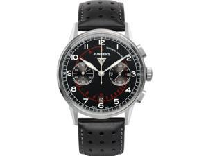 JUNKERS MEN'S G38 42MM BLACK LEATHER BAND STEEL CASE QUARTZ WATCH 6970-2