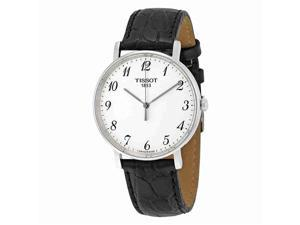 Tissot Everytime Quartz T1094101603200 White / Black Leather Analog Quartz Men's Watch