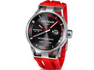 LOCMAN MEN'S 44MM RED RUBBER BAND STEEL CASE AUTOMATIC WATCH 051100BKFRD0GOR