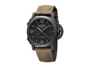 PANERAI MEN'S LUMINOR 1950 44MM BROWN LEATHER BAND MECHANICAL WATCH PAM00580