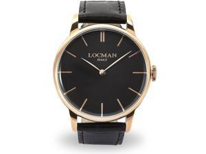LOCMAN MEN'S 41MM BLACK LEATHER BAND STEEL CASE QUARTZ WATCH 0251V09-RGBKRGPK