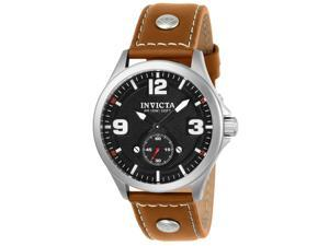 INVICTA MEN'S AVIATOR TAN LEATHER BAND STEEL CASE QUARTZ ANALOG WATCH 22528